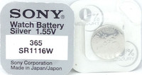 Sony 365 (SR1116W) 1.55v Silver Oxide (0%Hg) Mercury Free Watch Battery - Made in Japan