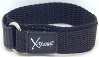 X-Treme 16mm Tough Secure Hook & Loop Nylon Watch Band Strap Ladies Women's with Ring End - Black