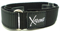 X-Treme 20mm Tough Secure Hook & Loop Nylon Watch Band Strap Gents Men's with Ring End - Black