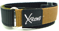 X-Treme 20mm Tough Secure Hook & Loop Nylon Watch Band Strap Gents Men's with Ring End - Khaki