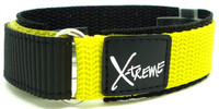 X-Treme 20mm Tough Secure Hook & Loop Nylon Watch Band Strap Gents Men's with Ring End - Yellow