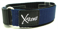 X-Treme 20mm Tough Secure Hook & Loop Nylon Watch Band Strap Gents Men's with Ring End - Dark Blue