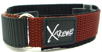 X-Treme 20mm Tough Secure Hook & Loop Nylon Watch Band Strap Gents Men's with Ring End - Light Brown