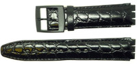 Condor 17mm (20mm) Sized Genuine Leather Croco Grain Replacement Strap for Swatch® Watch - Black