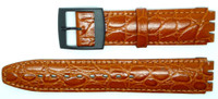 Condor 17mm (20mm) Sized Genuine Leather Croco Grain Replacement Strap for Swatch® Watch - Tan