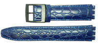 Condor 17mm (20mm) Sized Genuine Leather Croco Grain Replacement Strap for Swatch® Watch - Blue