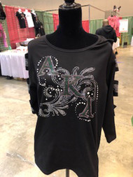 Alpha Kappa Alpha Black Bling Shirt With Sleeves Cut Out