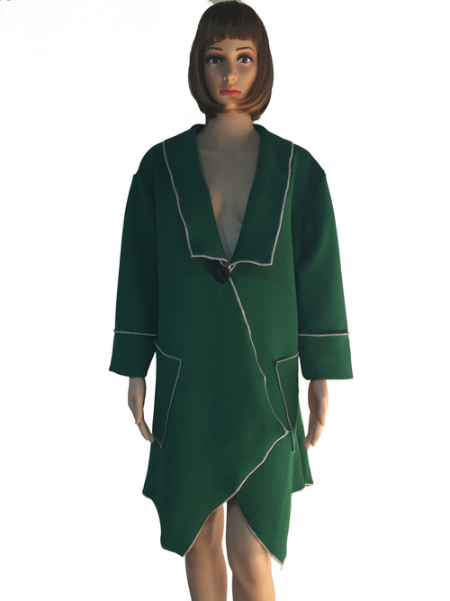 GREEN JACKET WITH PINK TRIM 3/4 SLEEVES WITH OPEN FLARE