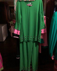 2PCS GREEN BELL SLEEVE GREEN SUIT RUNS SMALL ORDER SIZE UP! 2XL TO 5XL
