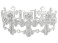 Brazalete De Lujo De Cruces Treboladas Con Circonita Brillante En Oro Blanco (OM#9973)