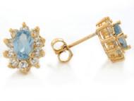 Aretes De Dama Aguamarina Simulada De Marzo Y Circonita Blanca En Oro De (OM#2348)