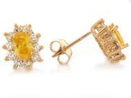 Aretes De Dama Citrino Simulado De Noviembre Y Circonita Blanca En Oro De (OM#2348)