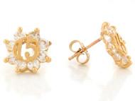 Aretes Lindos Brillosos De 15 Anos Quinceanera Con Circonita En Oro Amarillo (OM#2391)