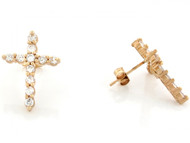 Aretes Religiosos De Cruz Con Circonita Blanca Redonda En Oro Amarillo De (OM#3445)