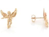 Aretes De Poste Religiosos Cristianos De Angel Tamano 1.7cm En Oro Amarillo (OM#3446)