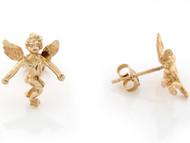 Aretes De Poste Religiosos Cristianos De Angel Tamano 1.4cm En Oro Amarillo (OM#3447)