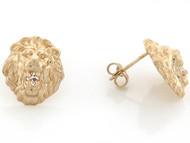 Aretes Tamano 1.2cm De Poste En Forma De Cabeza De Leon Con Circonita En Oro (OM#3454)