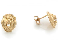 Aretes Tamano 1.1cm De Poste En Forma De Cabeza De Leon Con Circonita En Oro (OM#3455)