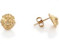 Aretes Tamano 0.8cm De Poste En Forma De Cabeza De Leon Con Circonita En Oro (OM#3456)