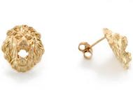 Aretes Tamano 1.2cm De Poste En Forma De Cabeza De Leon En Oro Amarillo De (OM#3457)