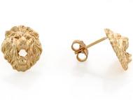 Aretes Tamano 1.1cm De Poste En Forma De Cabeza De Leon En Oro Amarillo De (OM#3458)