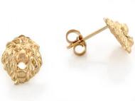 Aretes Tamano 0.8cm De Poste En Forma De Cabeza De Leon En Oro Amarillo De (OM#3459)