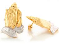 Aretes Religiosos Tamano 2.4cm De Manos En Oracion En Oro De Dos Tonos De (OM#6640)