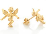 Aretes Religiosos Lindos Tamano 1.4cm De Angel Celestial En Oro Amarillo De (OM#6642)