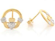Aretes Tamano 1.3cm De Claddagh Irlandes Con Diamante En Oro De Dos Tonos (OM#6649)