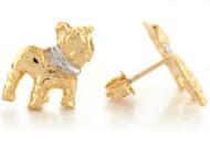 Aretes Lindos Tamano 1.2cm De Animal Perro Bulldog En Oro Real De Dos Tonos (OM#6650)