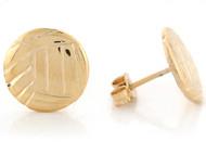 Aretes Tamano 1.1cm De Volleyball Deportes Atleta En Oro Real De Dos Tonos (OM#6651)