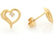 Aretes Hermosos Tamano 1cm De Corazon Con Diamante En Oro Amarillo De (OM#6654)