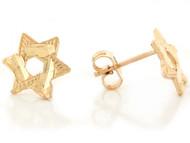 Aretes Tamano 1.1cm Para Damas De Estrella De David En Oro Amarillo Real De (OM#6657)