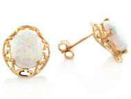 Aretes Encantadores De Dama Con Opalo Simulado En Oro De (OM#8192)
