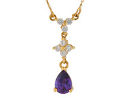 Colgante De Tres Peizas Con Amatista Y Diamantes Reales En Oro De Dos Tonos (OM#10002)