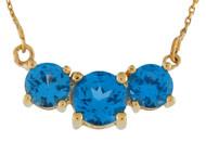 Collar Espectacular Para Dama Con Tres Gemas De Topacio Azul Genuino En Oro (OM#10005)