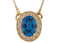 Collar Clasico De Dama Acentuado De Topacio Azul Y Diamantes Genuinos En Oro (OM#10008)