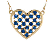 Collar Deslumbrante Para Dama De Corazon Con Zafiro Simulado En Oro De (OM#10011)