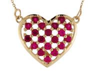 Collar Deslumbrante Para Dama De Corazon Con Rubi Simulado En Oro De (OM#10011)