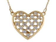 Collar Deslumbrante Para Dama De Corazon Con Circonita Blanca En Oro De (OM#10011)