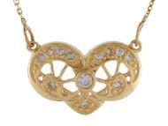 Collar Unico Para De Estilo Filigrana Acentuado Con Diamantes Reales En Oro (OM#10019)