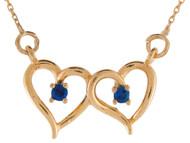 Collar Lindo Estilo Corazon Abierto Doble Con Zafiro Genuino En Oro De (OM#9605)