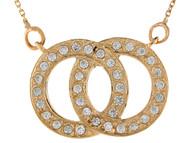 Collar Para Dama Con Dos Circulos Entrelazados Con Circonita Blanca Oro De (OM#9869)