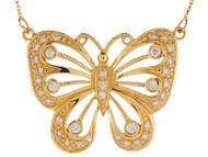 Collarpara Dama Lindo De Mariposa De Alto Brillo Con Circonita En Oro De (OM#9939)