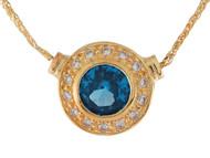 Collar Circular Estilo Antiguo Con Circon Azul Simulado Y Circonita En Oro (OM#9941)