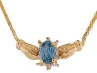 Collar Con Clase De Dama Con Topacio Azul Y Diamantes Reales En Oro De (OM#9944)