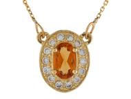 Collar Clasico Ovalado De Dama Citrino Y Aureola De Diamantes Reales En Oro (OM#9988)