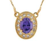 Collar Clasico Ovalado De Dama Amatista Y Aureola De Diamantes Reales En Oro (OM#9989)