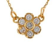 Collar Pequeno Para Dama Estilo Flor Acentuado Con Circonita Blanca En Oro (OM#9990)