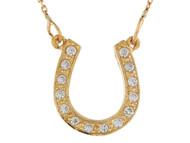 Collar De Suerte Para Dama En Forma De Herradura Con Diamantes Reales En Oro (OM#9992)